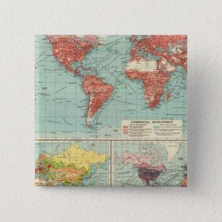 世界の商業の地図 5.1CM 正方形バッジ