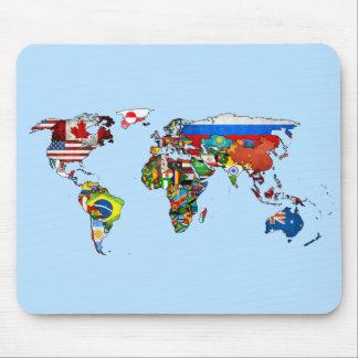 世界の国旗の地図のマウスパッド マウスパッド