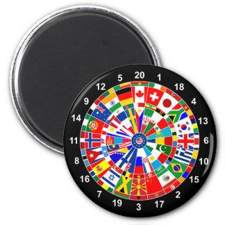 世界の国旗の投げ矢のボードゲーム旅行雄牛e マグネット