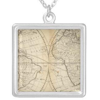 世界の地図 シルバープレートネックレス