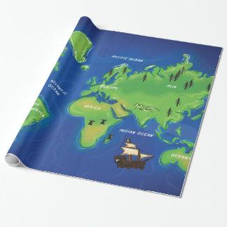 世界の地図 ラッピングペーパー