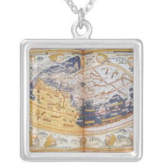 世界の地図、1486年 シルバープレートネックレス