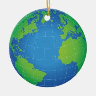 世界の地球の地図 セラミックオーナメント