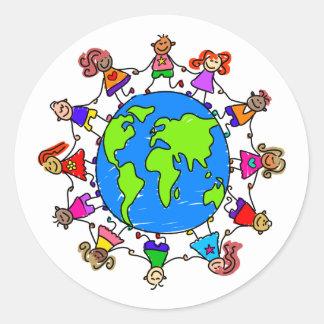 世界の子供 ラウンドシール