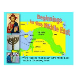 世界の宗教、中東の始め ポストカード
