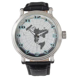 世界の平らな地球のGleasonsの静止した地図 腕時計