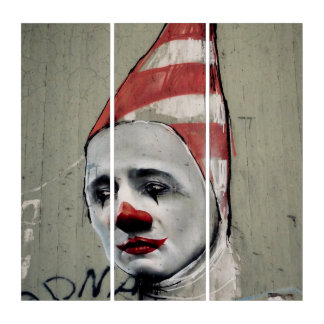 世界の抑鬱状態の通りの芸術のアクリルのトリプティク トリプティカ