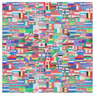 世界の旗のコラージュ ファブリック