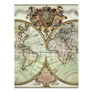 世界の旧式な地図 ポストカード