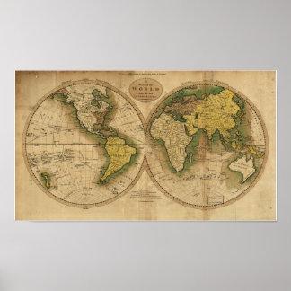 世界の旧式な地図- 1795年 ポスター
