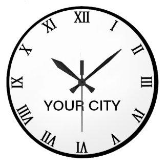 世界の時計のテンプレートの都市 ラージ壁時計
