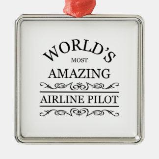 世界の最もすばらしい航空会社のパイロット メタルオーナメント