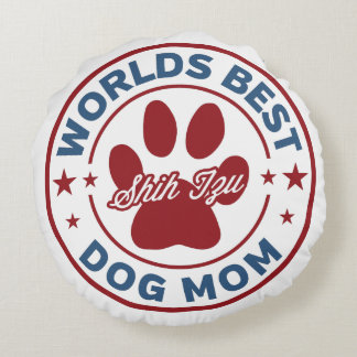世界の最も最高のなお母さんのシーズー(犬)のTzuの足のプリント ラウンドクッション