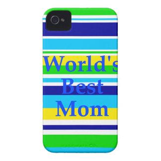 世界の最も最高のなお母さんの夏のストライプなティール(緑がかった色)のライムの黄色 Case-Mate iPhone 4 ケース