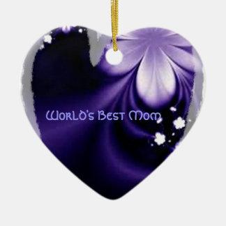 世界の最も最高のなお母さんの紫色の花のハートのオーナメント セラミックオーナメント