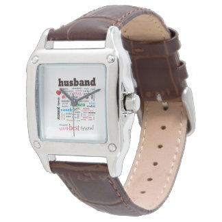 世界の最も最高のな夫の単語の雲 腕時計