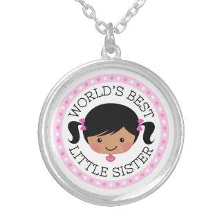 世界の最も最高のな妹の漫画の女の子の黒髪 シルバープレートネックレス