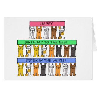 世界の最も最高のな姉妹、猫とのハッピーバースデー カード