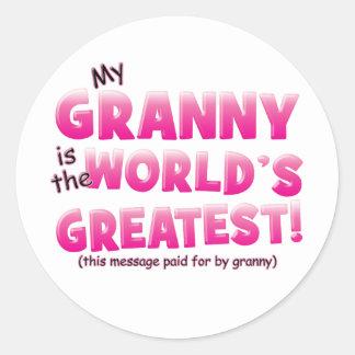 世界の最も素晴らしいおばあさんのピンク ラウンドシール