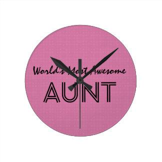 世界の最も素晴らしい叔母さんピンクの正方形のパターン ラウンド壁時計