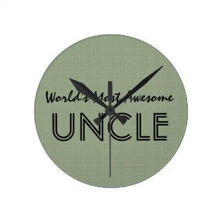 世界の最も素晴らしい叔父さん粘土はパターンを平方します ラウンド壁時計