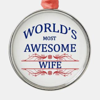世界の最も素晴らしい妻 メタルオーナメント