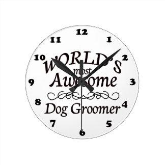 世界の最も素晴らしい犬のトリマー ラウンド壁時計