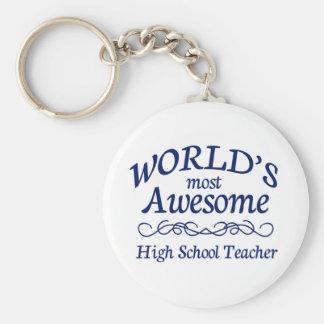 世界の最も素晴らしい高等学校の先生 ベーシック丸型缶キーホルダー