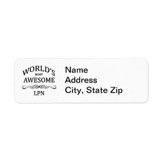 世界の最も素晴らしいLPN 返信用宛名ラベル