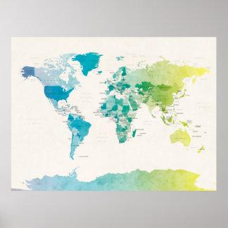 世界の水彩画の政治地図 ポスター