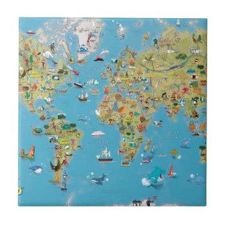 世界の漫画の地図 正方形タイル小