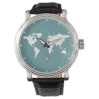 世界の白い地図 腕時計