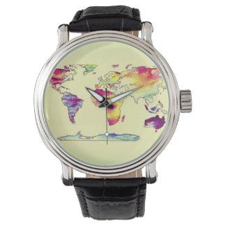 世界の腕時計の水彩画の地図 ウォッチ