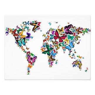 世界の蝶地図 フォトプリント