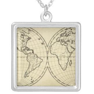 世界の輪郭の倍半球 シルバープレートネックレス