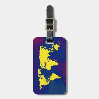 世界の黄色い地図 ラゲッジタグ