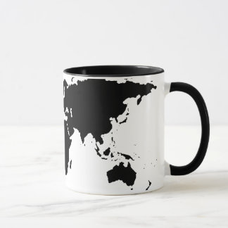 世界の黒く写実的な地図 マグカップ