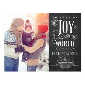世界の黒板のクリスマスの郵便はがきへの喜び ポストカード