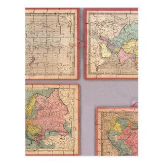 世界の7つのパズルの地図 ポストカード