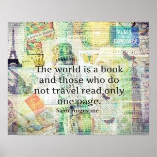 世界は本旅行引用文です ポスター