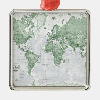 世界は芸術-緑です メタルオーナメント