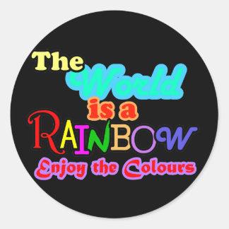 世界は虹、楽しみます色をです ラウンドシール