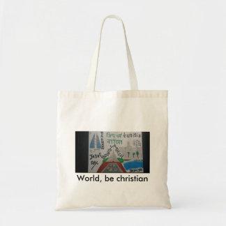 世界は、キリスト教のバッグチュニジアまたはバーレーンまたはバングラデシュです トートバッグ