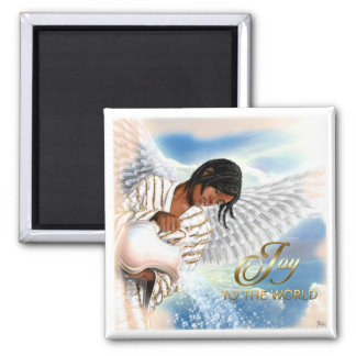 世界への喜び。 アフリカの天使のクリスマスの磁石 マグネット
