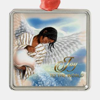 世界への喜び。 アフリカの天使のクリスマスオーナメント メタルオーナメント