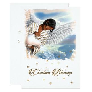 世界への喜び。 アフリカの天使の平らなクリスマスカード 12.7 X 17.8 インビテーションカード