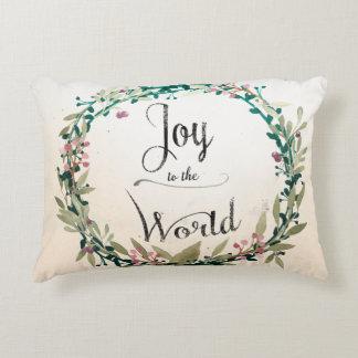 世界への素朴なクリスマスの喜び アクセントクッション