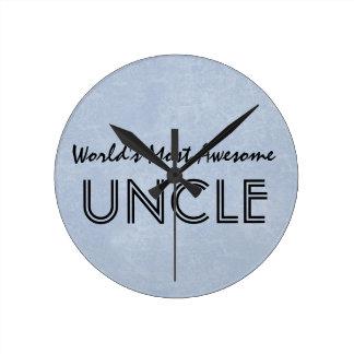 世界ほとんどの素晴らしい叔父さんBlue Grunge Gift Item ラウンド壁時計