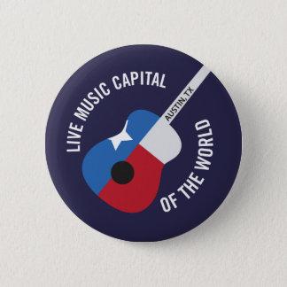 世界ボタンのオースティンTXの生演奏の首都 缶バッジ