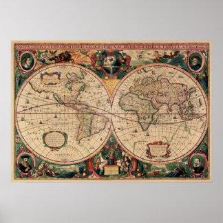 世界ポスターのレプリカの旧式な地図 ポスター